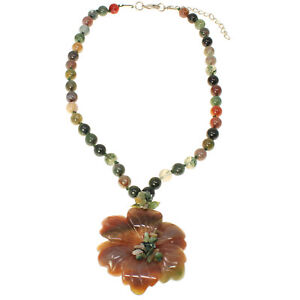 Semi-precious-mixed-color-agate-stone-chunky-flower-pendant-bead-choker-necklace