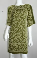 Nicole Miller Olive Green Velvet Burnout Floral Dolman Shift Dress P XS XSM 0 2