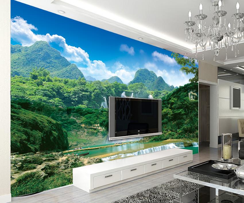3D Wald Wasserfall 8546 Tapete Wandgemälde Tapete Tapeten Bild Familie Familie Familie DE Summer | Einfach zu bedienen  | Authentisch  |  216024