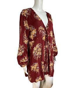 DONT-ASK-AMANDA-Large-Ladies-Top-Dress-Long-Sleeve-Nursing-Mums-EUC-Boho-Floral