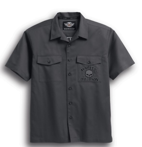 Harley-Davidson-Men-039-s-S-S-Skull-Garage-Shirt-99028-17VM