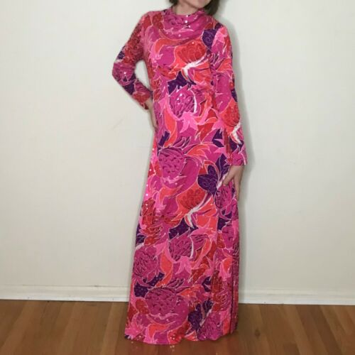 Vtg Anne Fogarty Pink Psychedelic Maxi Dress Gown