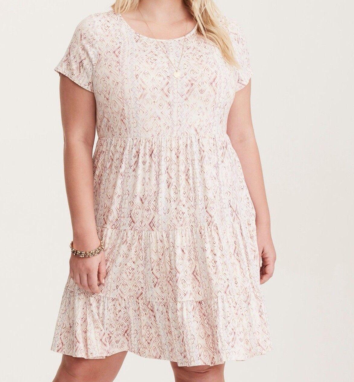 Torrid Multi-Farbe Ikat Print Jersey Babydoll Dress 2X