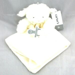 Carters White Plush Lamb Baby Security Blanket Lovey W