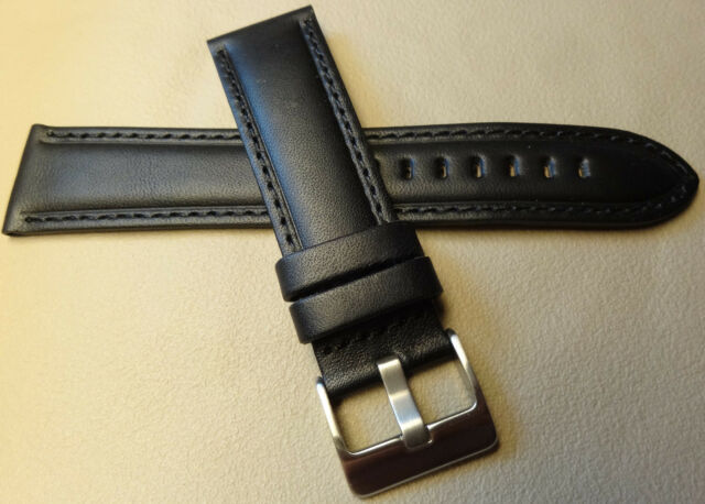 Genuine Leather Black Padded 22mm Smartwatch Watch Band Stainless Steel Buckle