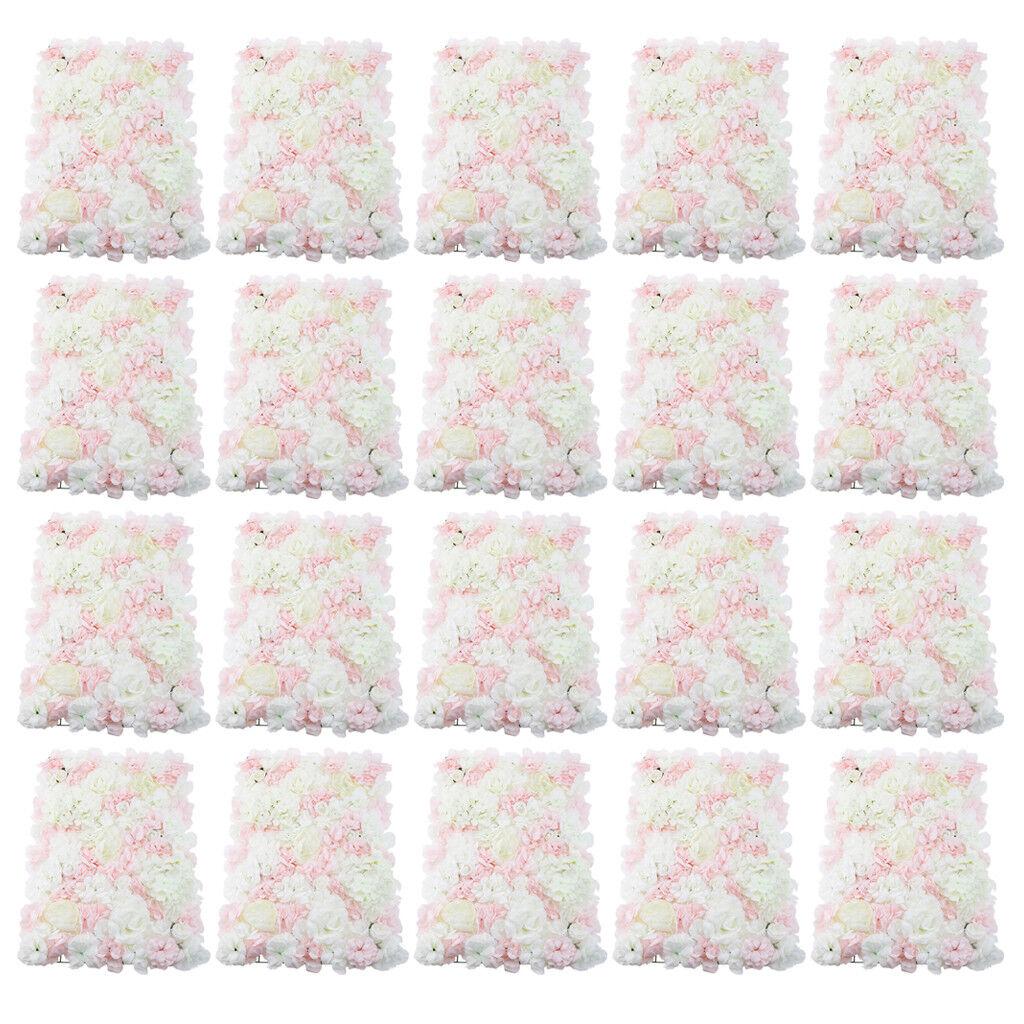 20pcs fleur artificielle panneau mural décor de mariage accessoires rose