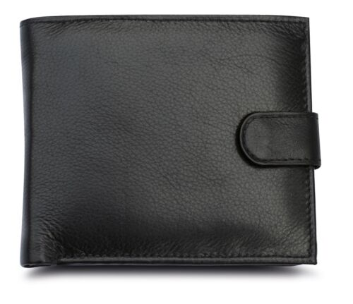 Mens RFID Blocking Soft Leather Wallet ID Window Zip And Coin Pocket 2511 brown