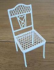Dolls House Miniature 1:12th Scale Pretty White Wire Heart Chair