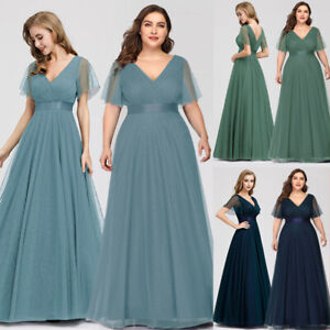 Details about Ever-Pretty US Plus Size Short Sleeve Formal Evening Dresses  Bridesmaid Gowns