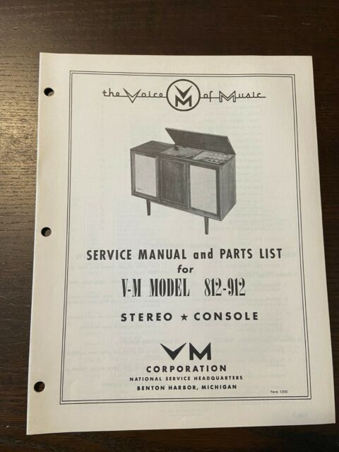 Voice Of Music Model 812 912 Service Manual Original Parts