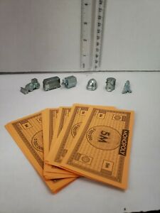 Monopoly-City-Game-Replacement-Parts-Pieces-TOKENS-plus-Lot-of-20-5M-Bills