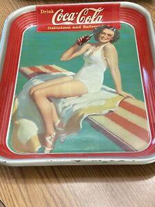 Vintage Coca Cola Tray 1939 Springboard girl American Art Works Coshocton Ohio