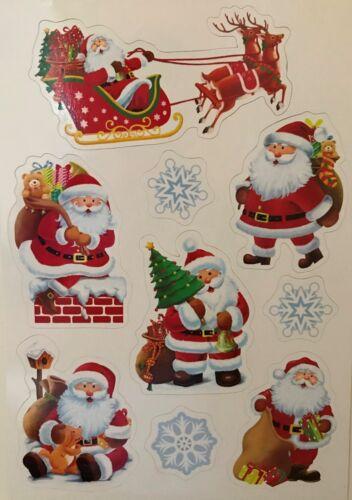 Pack 9 Noël Festif Santa Flocon De Neige Aimants De Réfrigérateur Vintage décorations de Noël