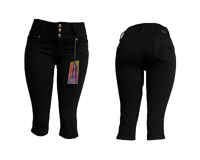 NEw Tush Push colombian c911 medium blue stretch levanta cola capri shorts