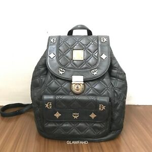 Pre-Owned-Authentic-MCM-Black-Quilted-Leather-Backpack