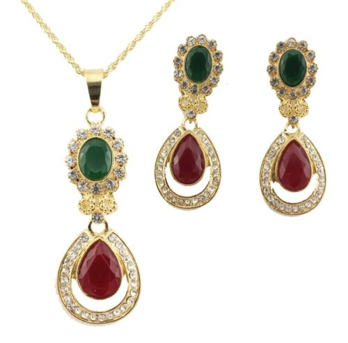 Ladies Luxury Teardrop Jewellery Set Deep Red Green Drop Earrings Necklace