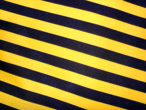 Yellow /& Black Striped Fabric Material POLY COTTON Crafts Quilting Sewing 1M