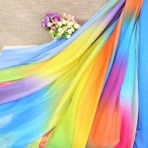 Gradient-Chiffon-Stoff-Regenbogen-Tanz-Kostuem-Buehne-Diy-Kleidung-Kleid-Basteln