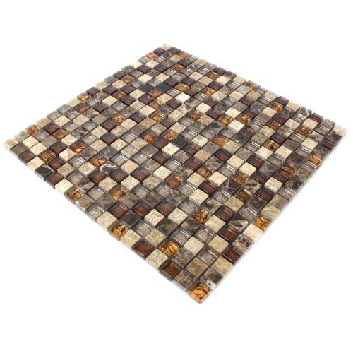 MUSTER Glas Naturstein Mosaik Fliesen Beige Braun 15x15x8mm
