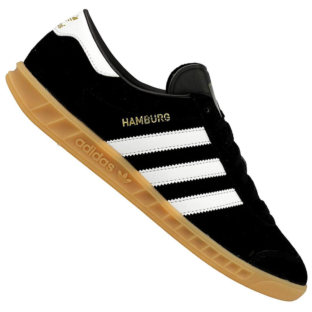 Adidas Originals Hambourg Hommes Femmes Sneaker en Cuir Baskets Noir Blanc-