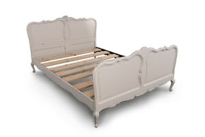 Ivory-Shabby-Chic-Original-1950-039-s-Vintage-French-Double-Oak-Wood-Bed-Frame