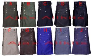 "Handmade Men`s Fashion Black kilt deal Complete set 100/% Cotton 30/"" to 52/"""