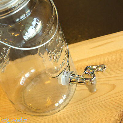 Mason Jar Glass Beverage Dispenser with Wire Handle - 3 Liters - Bar Party Drink