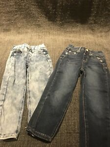 Lot Of 2 Justice Girls Jeans, Size 8S Light Wash And Darkwash
