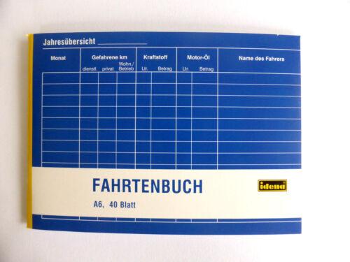 Fahrtenbuch A6 40 Blatt Idena