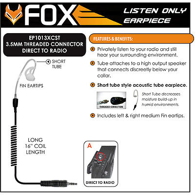 Tactical Ear Gadgets EP1089SC Fox 3.5mm Listen Only Earpiece with Black Acoustic Tube