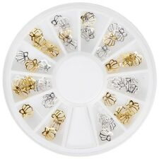 BMC 36pc Pretty Gold and Silver Metal Scalloped Shells Nail Polish Art Charms