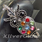 OWL PENDANT WITH COLORFUL CRYSTALS BLUE WHITE YELLOW BLACK GREEN SILVER PLATED