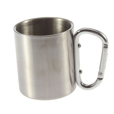 220ml Stainless Steel Outdoor Camp Camping Cup Carabiner Hook Double Wall FE