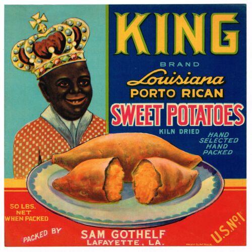 ORIGINAL YAM CRATE LABEL KING BLACK AMERICANA LOUISIANA C1940S VINTAGE LAFAYETTE