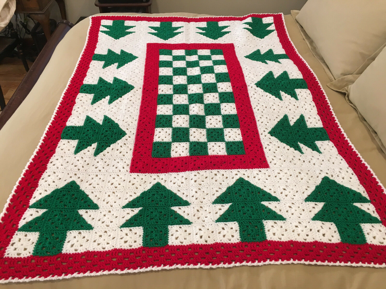 Handmade Afghan   Throw Blanket - Designer Collection - Green Christmas Trees