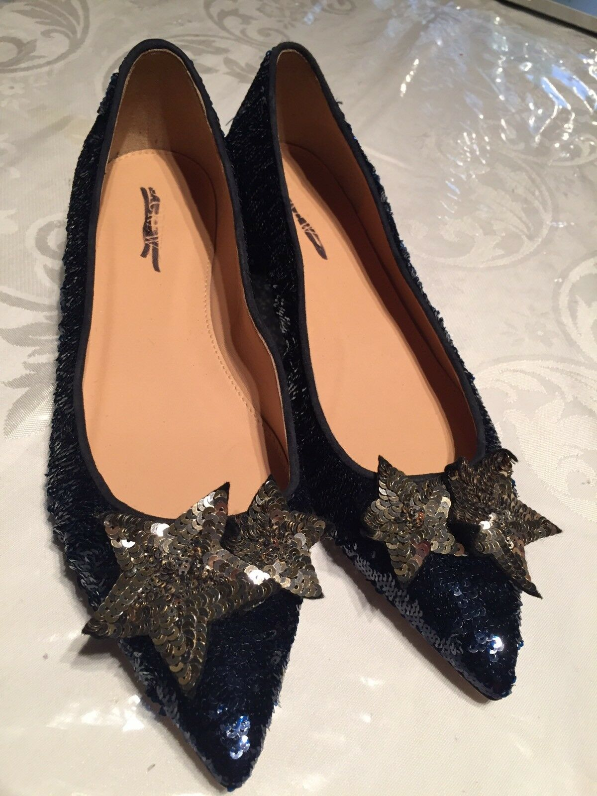 J.CREW COLLECTION  198 WOMANS SEQUIN FLATS W W W  STARS NAVY blueE SZ 9 H1903 ca5c08