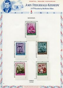 MANAMA-OVERPRINT-amp-SUCHARGE-ON-AJMAN-JOHN-F-KENNEDY-MEMORIAL-MINT-HINGED