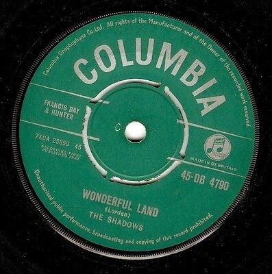 THE SHADOWS Wonderful Land Vinyl Record 7 Inch Columbia DB 4790 1962