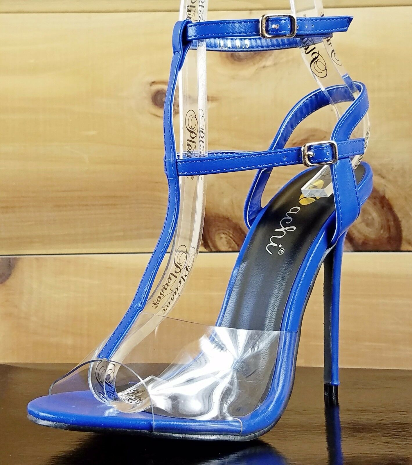 Ula Medium bluee Slingback with ankle strap Clear Lucite Toe High Heel shoes 7-11