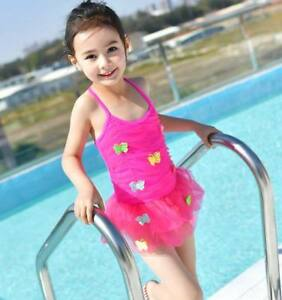 a95cfdb69421a Girls Kids Princess One-piece Lovely Lace Skirt Swimsuit Swimwear ...