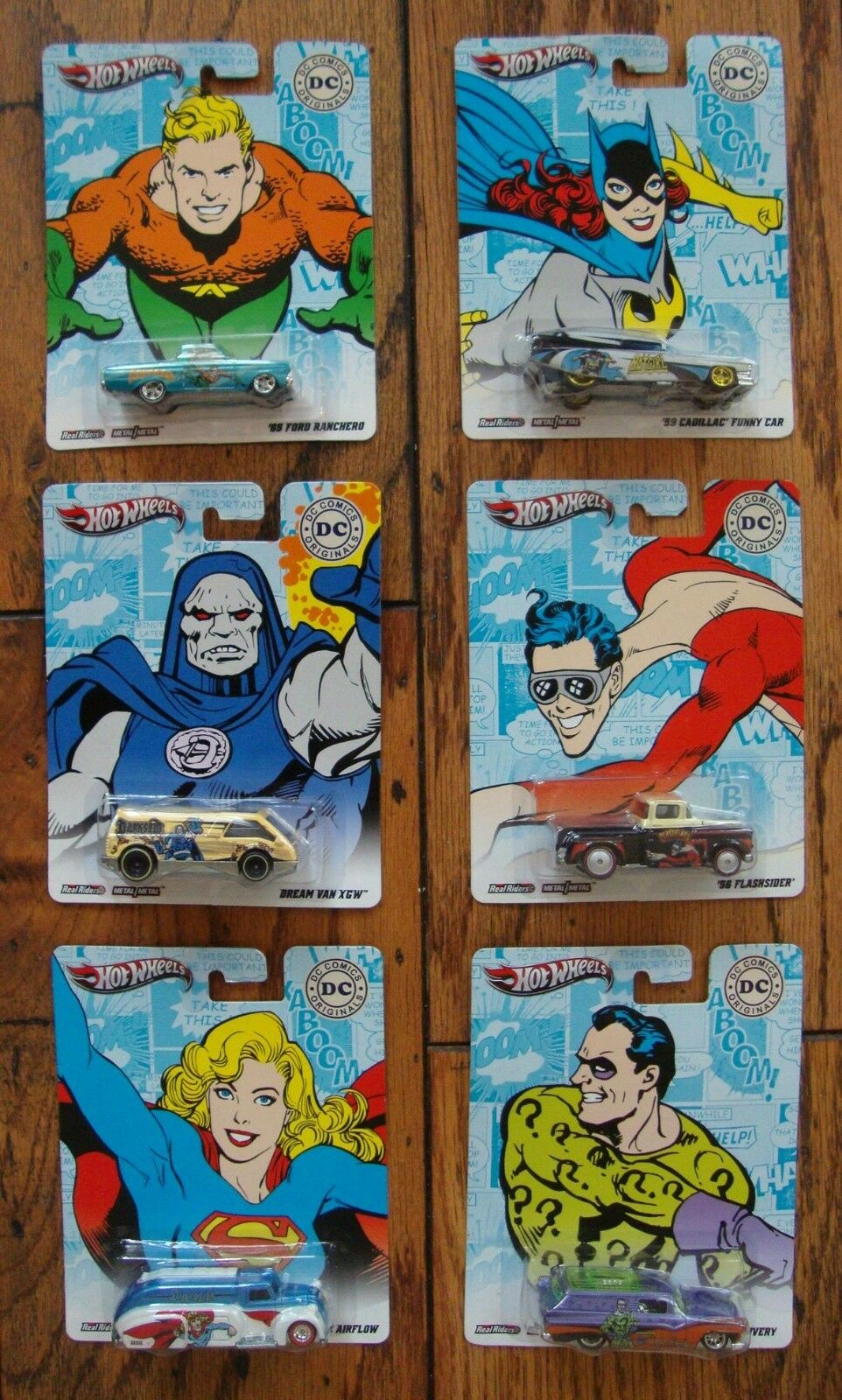 6 Hot Wheels DC Comics Originals Darkseid Aqua Riddler Bat Super Plastic 2011