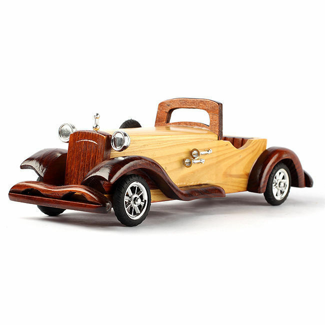 30cm 11.8  Hand-Crafted Wooden Antique Retro Car Auto-Mobile Model Miniature NEW
