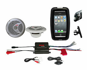 """Pyle Bike Bicycle Outdoor Use 6.5"""" White Speakers, Black iPod Input Amplifier"""