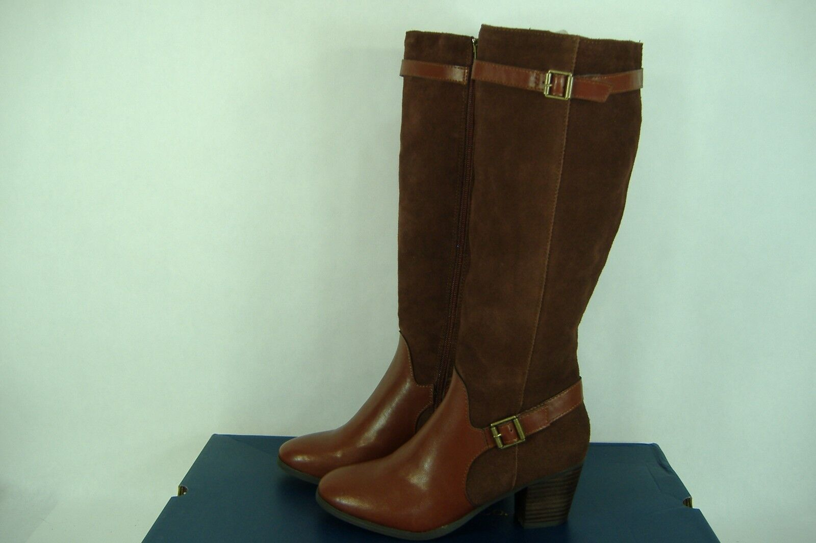New Womens 10 GH Bass Noreen Equestrian Knee High Brown Leather Horse Boots 248