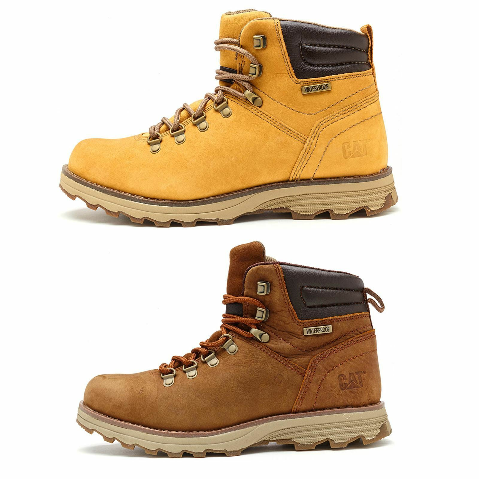 Caterpillar CAT Sire Waterproof Nubuck Boots in Brown & Honey Reset Wheat