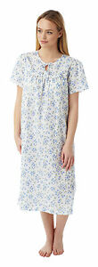 Ladies-Keyhole-amp-Bow-Lightweight-Nightdress-White-Blue-in-Sizes-10-30