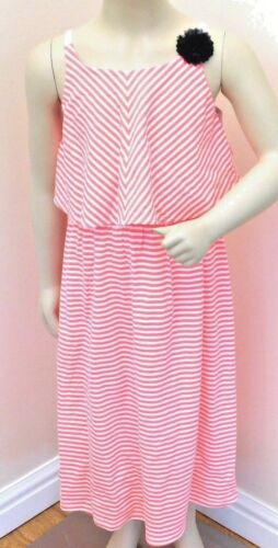 OshKosh B/'Gosh Girls 100/% pink cotton two-tier Dress short sleeve 7 sizes BNWT