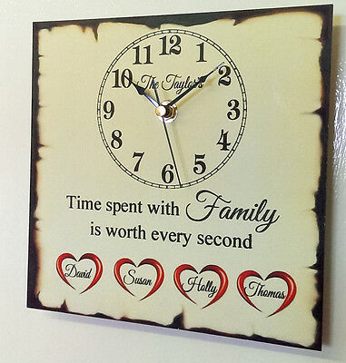 Beautiful Personalised Family Children Love Home Clock Shabby Present Chic Gift