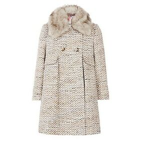 professional sale classic chic new items Details about John Lewis Girls' Faux Fur Collar Glitter Coat, Grey 3 years