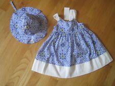 Baby Infant girl GYMBOREE BLUE WHITE DOTS FLOWERS DRESS & HAT SET NWT 6m 9m 12m